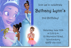 Design online, download jpg immediately DIY tiana princess and the frog party birthday Invitations
