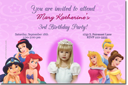 Design online, download jpg immediately DIY princess group party birthday Invitations