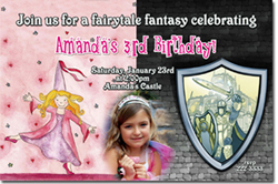 Design online, download jpg immediately DIY princess knight party birthday Invitations