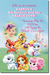 Design online, download jpg immediately DIY palace pets party birthday Invitations