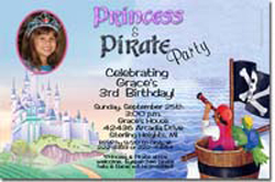 Design online, download jpg immediately DIY princess pirate castle party birthday Invitations