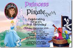 Design online, download jpg immediately DIY cinderella princess pirate party birthday Invitations