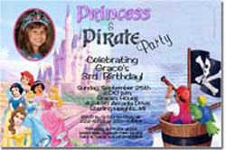 Design online, download jpg immediately DIY princess and pirate party birthday Invitations