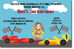 Design online, download jpg immediately DIY race cars birthday party Invitations