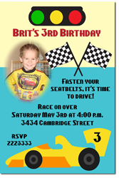 Design online, download jpg immediately DIY racing cars birthday party Invitations