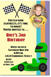 Design online, download jpg immediately DIY racing flags birthday party Invitations