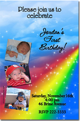 Design online, download jpg immediately DIY rainbow birthday party Invitations