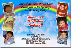 Design online, download jpg immediately DIY rainbow party invitations