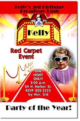 Design online, download jpg immediately DIY red carpet birthday party Invitations