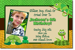 Design online, download jpg immediately DIY reptiles birthday party Invitations