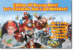 Design online, download jpg immediately DIY rescue bots birthday party Invitations