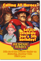 Design online, download jpg immediately DIY rescue heroes birthday party Invitations