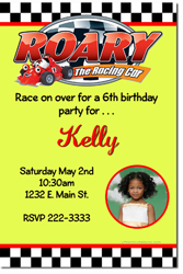 Design online, download jpg immediately DIY roary the racing car birthday party Invitations