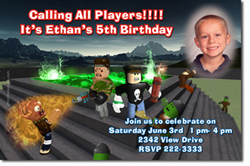 Design online, download jpg immediately DIY roblox birthday party Invitations