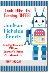 Design online, download jpg immediately DIY robot sam birthday party Invitations