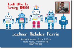 Design online, download jpg immediately DIY robots birthday party Invitations