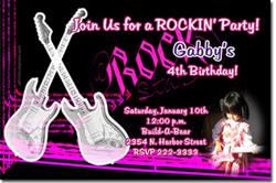 Design online, download jpg immediately DIY rock star party birthday Invitations