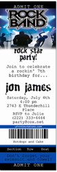 Design online, download jpg immediately DIY rock star ticket birthday party Invitations