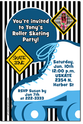 Design online, download jpg immediately DIY roller skater birthday party Invitations