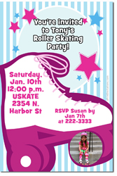 Design online, download jpg immediately DIY roller skater party birthday Invitations