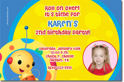 Design online, download jpg immediately DIY rollie pollie party birthday Invitations