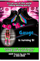 Design online, download jpg immediately DIY roller skating party birthday Invitations