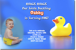 Design online, download jpg immediately DIY rubber ducky birthday party Invitationss