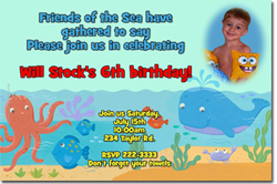 Design online, download jpg immediately DIY sea creatures party birthday Invitations