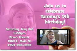 Design online, download jpg immediately DIY selfie picture birthday party Invitations