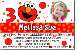 Design online, download jpg immediately DIY sesame street elmo face birthday party Invitations