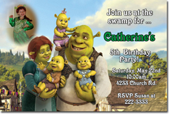 Design online, download jpg immediately DIY shrek babies birthday party Invitations
