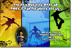 Design online, download jpg immediately DIY skateboarding birthday party Invitations