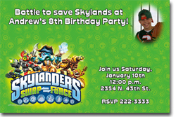 Design online, download jpg immediately DIY skylanders swap birthday party Invitations