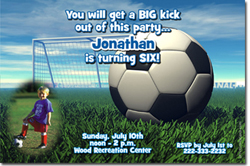 Design online, download jpg immediately DIY soccer birthday party Invitations