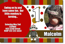 Design online, download jpg immediately DIY sock monkey birthday party Invitations