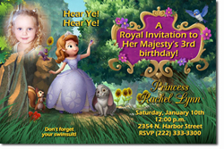 Design online, download jpg immediately DIY sofia the first party birthday Invitations