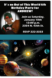 Design online, download jpg immediately DIY space planets birthday party Invitations