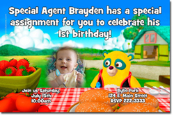 Design online, download jpg immediately DIY special agent oso party birthday Invitations