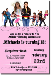 Design online, download jpg immediately DIY stuck in the middle party birthday Invitations