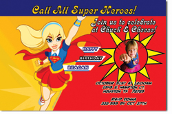 Design online, download jpg immediately DIY Super Girl birthday party Invitations