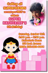 Design online, download jpg immediately DIY super girl party birthday Invitations
