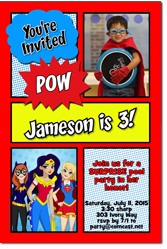 Design online, download jpg immediately DIY Comic Book Super Hero Girls birthday party Invitations