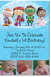 Design online, download jpg immediately DIY super why party birthday Invitations