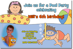 Design online, download jpg immediately DIY swimming party birthday Invitations