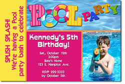 Design online, download jpg immediately DIY swimming pool party birthday Invitations