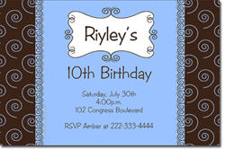 Design online, download jpg immediately DIY swirls boys birthday party Invitations