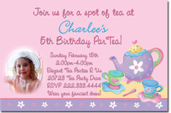 Design online, download jpg immediately DIY tea party birthday Invitations