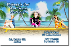 Design online, download jpg immediately DIY teen beach movie party birthday Invitations