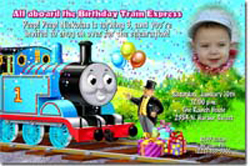 Design online, download jpg immediately DIY thomas the tank engine party birthday Invitations