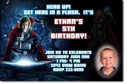 Design online, download jpg immediately DIY thor birthday party Invitations